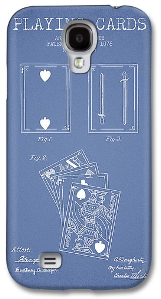 Card Digital Art Galaxy S4 Cases - Dougherty Playing Cards Patent Drawing From 1876 - Light Blue Galaxy S4 Case by Aged Pixel