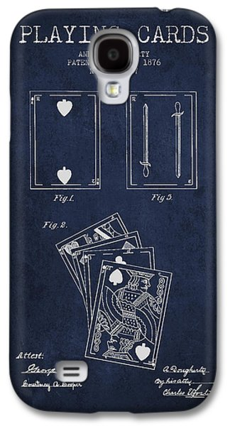 Card Digital Art Galaxy S4 Cases - Dougherty Playing Cards Patent Drawing From 1876 - Navy Blue Galaxy S4 Case by Aged Pixel