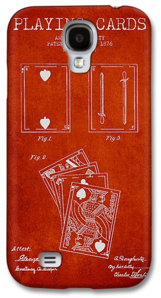 Dougherty Playing Cards Patent Drawing From 1876 - Red Galaxy S4 Case by Aged Pixel