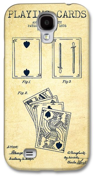 Card Digital Art Galaxy S4 Cases - Dougherty Playing Cards Patent Drawing From 1876 - Vintage Galaxy S4 Case by Aged Pixel