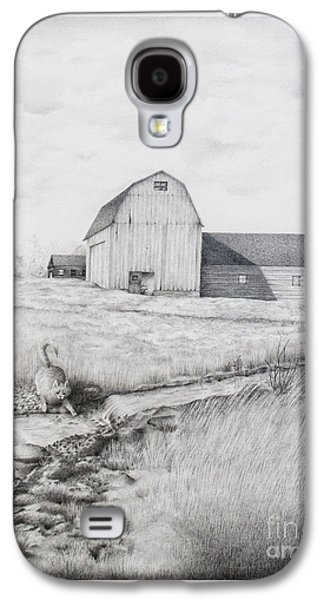 Old Barn Drawing Drawings Galaxy S4 Cases - Catching Fishes Galaxy S4 Case by Emily Wickerham