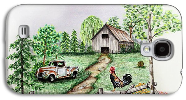 Fence Drawings Galaxy S4 Cases - Down on the Farm Galaxy S4 Case by Lena Auxier