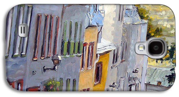 Quebec Streets Paintings Galaxy S4 Cases - Down The Hill Old Quebec City Galaxy S4 Case by Richard T Pranke