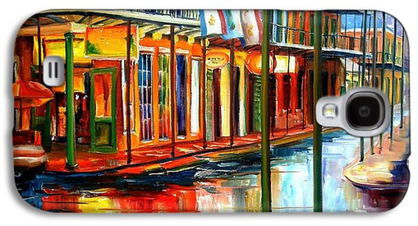 Street Paintings Galaxy S4 Cases - Downpour on Bourbon Street Galaxy S4 Case by Diane Millsap