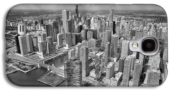 Downtown Chicago Aerial Black And White Galaxy S4 Case by Adam Romanowicz