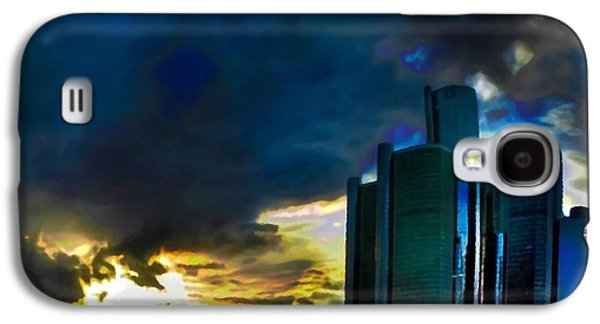 Waterscape Mixed Media Galaxy S4 Cases - Downtown Detroit at Dusk Galaxy S4 Case by  Fli Art