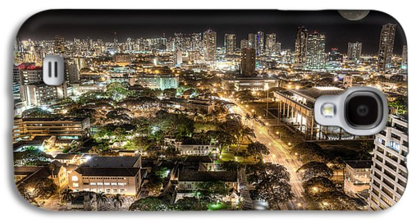 Top Seller Galaxy S4 Cases - Downtown Honolulu moonrise Galaxy S4 Case by Tin Lung Chao