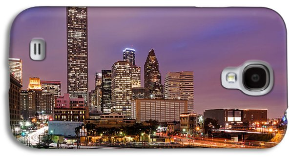 Downtown Franklin Galaxy S4 Cases - Downtown Houston Texas Skyline Beating Heart of a Bustling City Galaxy S4 Case by Silvio Ligutti