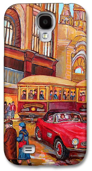 Montreal Memories Galaxy S4 Cases - Downtown Montreal-streetcars-couple Near Red Fifties Mustang-montreal Vintage Street Scene Galaxy S4 Case by Carole Spandau