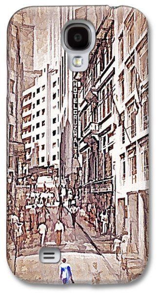 Portuguese Mixed Media Galaxy S4 Cases - Downtown Sao Paulo Brazil 9 - 1982 - Topaz  Galaxy S4 Case by Steve Ohlsen