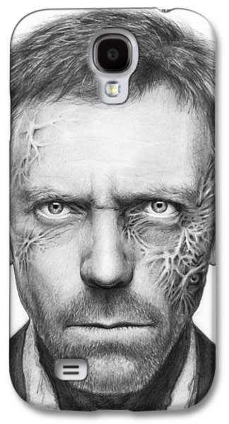 Black Drawings Galaxy S4 Cases - Dr. Gregory House - House MD Galaxy S4 Case by Olga Shvartsur