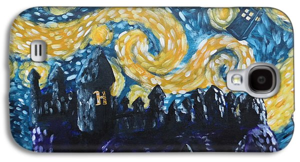 Tardis Galaxy S4 Cases - Dr Who Hogwarts Starry Night Galaxy S4 Case by Jera Sky