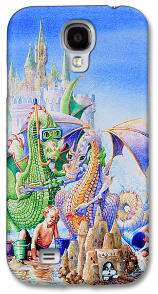 Sand Castles Paintings Galaxy S4 Cases - Dragon Castle Galaxy S4 Case by Hanne Lore Koehler