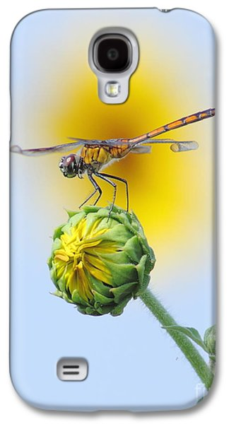 Fantasy Photographs Galaxy S4 Cases - Dragonfly In Sunflowers Galaxy S4 Case by Robert Frederick