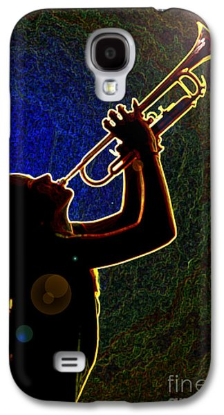Business Drawings Galaxy S4 Cases - Drak Drawing Silhouette Trumpet Music Instrument and Girl 3016.0 Galaxy S4 Case by M K  Miller