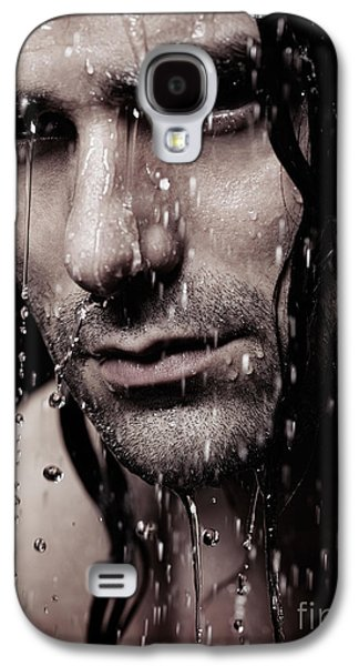 Dramatic Portrait Of Young Man Wet Face With Long Hair Galaxy S4 Case by Oleksiy Maksymenko
