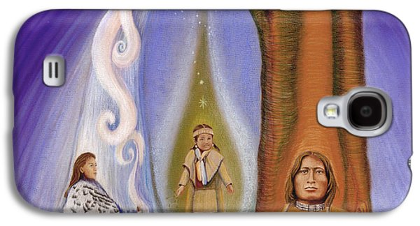 Native American Spirit Portrait Galaxy S4 Cases - Drawing Family Together Galaxy S4 Case by Robin Aisha Landsong