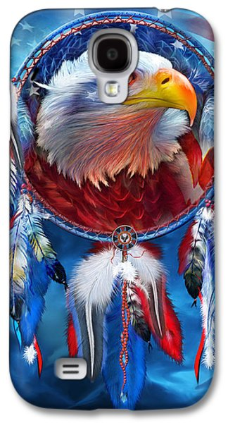 Eagle Mixed Media Galaxy S4 Cases - Dream Catcher - Eagle Red White Blue Galaxy S4 Case by Carol Cavalaris