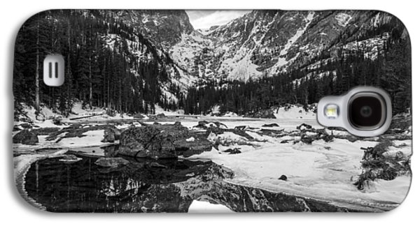 Reflection Of Sun In Clouds Galaxy S4 Cases - Dream Lake Reflection Black and White Galaxy S4 Case by Aaron Spong
