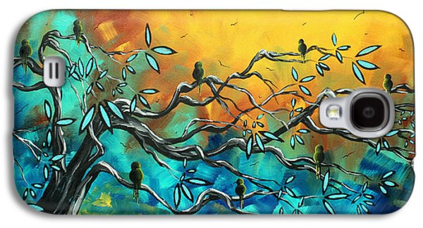 Abstract Canvas Galaxy S4 Cases - Dream Watchers Original abstract Bird Painting Galaxy S4 Case by Megan Duncanson