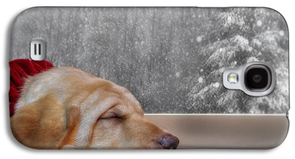 Pup Digital Art Galaxy S4 Cases - Dreamin of a White Christmas 2 Galaxy S4 Case by Lori Deiter