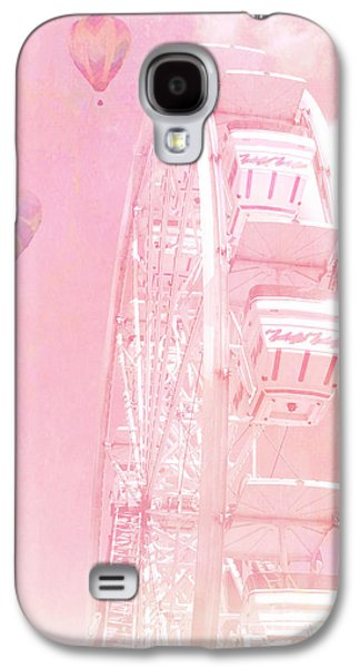 Dreamy Baby Pink Ferris Wheel Carnival Art With Hot Air Balloons Galaxy S4 Case by Kathy Fornal