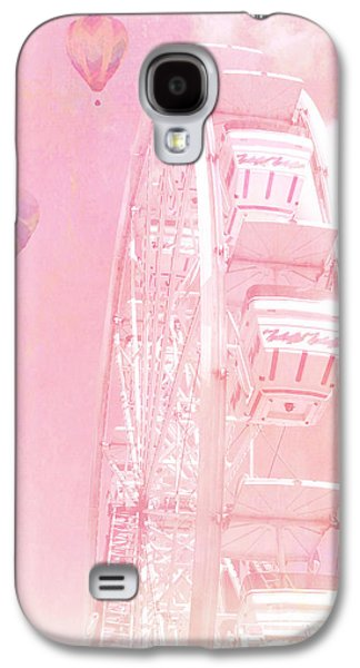 Hot Air Balloon Galaxy S4 Cases - Dreamy Baby Pink Ferris Wheel Carnival Art With Hot Air Balloons Galaxy S4 Case by Kathy Fornal