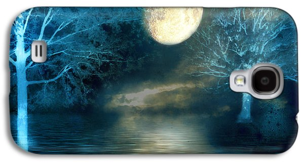 Print On Canvas Galaxy S4 Cases - Dreamy Blue Moon Nature Trees - Surreal Full Blue Moon Nature Trees Fantasy Art Galaxy S4 Case by Kathy Fornal