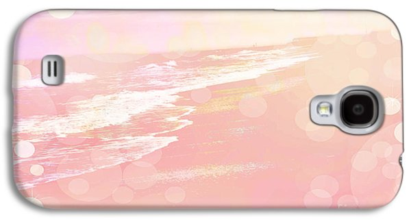 Ocean Art Photography Galaxy S4 Cases - Dreamy Pink Beach Ocean Coastal Wrightsville Beach North Carolina - Surreal Pink Bokeh Ocean Waves Galaxy S4 Case by Kathy Fornal