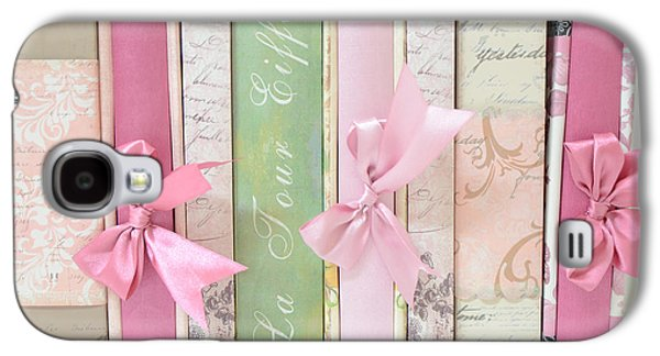 Print On Canvas Galaxy S4 Cases - Shabby Chic Pink Pastel Books Collection - Shabby Chic Romantic Pastel Paris Pink Books Photography  Galaxy S4 Case by Kathy Fornal