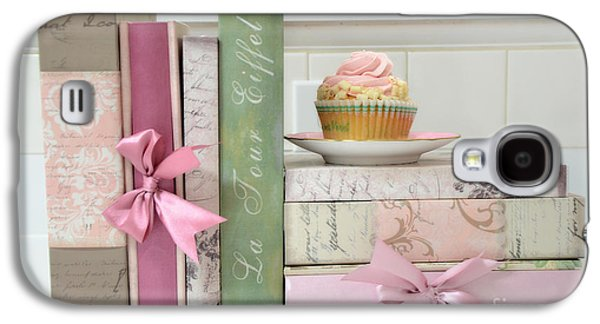 Print On Canvas Galaxy S4 Cases - Dreamy Romantic Pastel Shabby Chic Cottage Chic Books With Pink Cupcake - Food Photography Galaxy S4 Case by Kathy Fornal