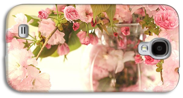 Cherry Blossoms Galaxy S4 Cases - Dreamy Shabby Chic Cottage Pink Cherry Blossoms Flowers In Vase Galaxy S4 Case by Kathy Fornal