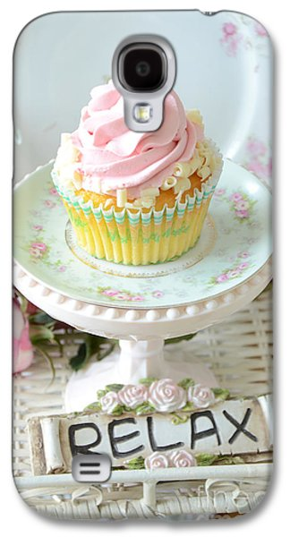Kitchen Photos Galaxy S4 Cases - Dreamy Shabby Chic Cupcake Romantic Food Vintage Cottage Food Photography - Just Relax Galaxy S4 Case by Kathy Fornal