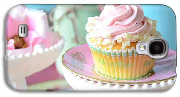Kitchen Photos Galaxy S4 Cases - Dreamy Shabby Chic Cupcake Vintage Romantic Food and Floral Photography - Pink Teal Aqua Blue  Galaxy S4 Case by Kathy Fornal