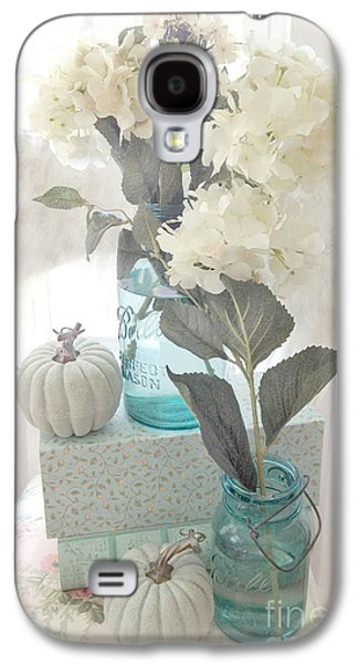 Dreamy Shabby Chic Pastel White Hydrangeas In Aqua Mason Jars - Autumn Fall Cottage Floral Decor Galaxy S4 Case by Kathy Fornal