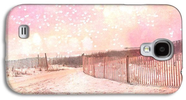 Beach Photos Galaxy S4 Cases - Dreamy Shabby Chic Pink Beach Coastal Art With Hearts and Bokeh Circles - Pastel Pink Beach Art Galaxy S4 Case by Kathy Fornal