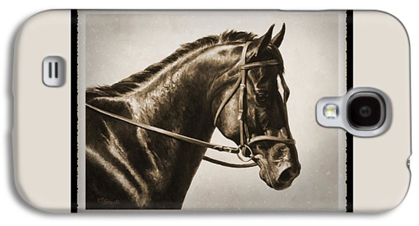 Horseback Galaxy S4 Cases - Dressage Horse Old Photo FX Galaxy S4 Case by Crista Forest