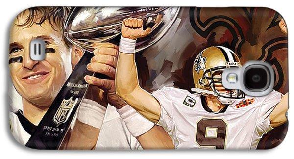 Quarterback Galaxy S4 Cases - Drew Brees New Orleans Saints Quarterback Artwork Galaxy S4 Case by Sheraz A