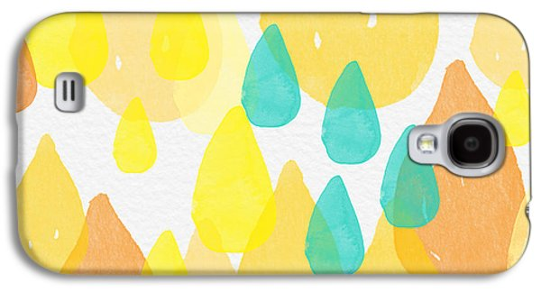 Abstracted Galaxy S4 Cases - Drops of Sunshine- abstract painting Galaxy S4 Case by Linda Woods