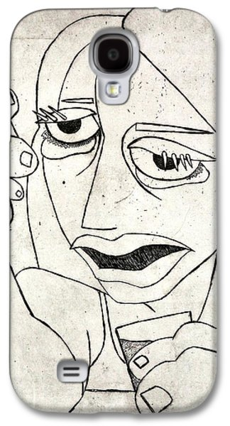 Drawing Reliefs Galaxy S4 Cases - Drunk Girl Galaxy S4 Case by Thomas Valentine