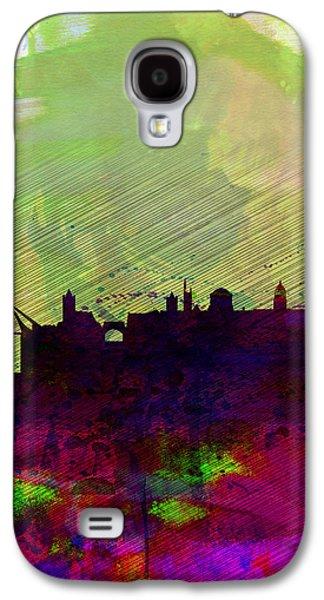 European City Digital Art Galaxy S4 Cases - Dublin Watercolor Skyline Galaxy S4 Case by Naxart Studio