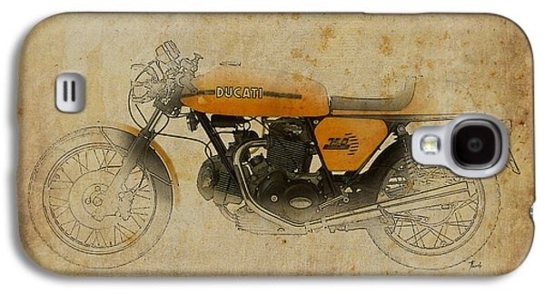 Indian Ink Mixed Media Galaxy S4 Cases - Ducati 750 Sport 1973 Galaxy S4 Case by Pablo Franchi
