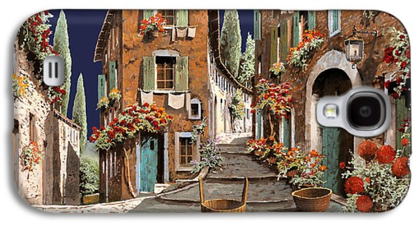 Street Paintings Galaxy S4 Cases - Due Strade Al Mattino Galaxy S4 Case by Guido Borelli