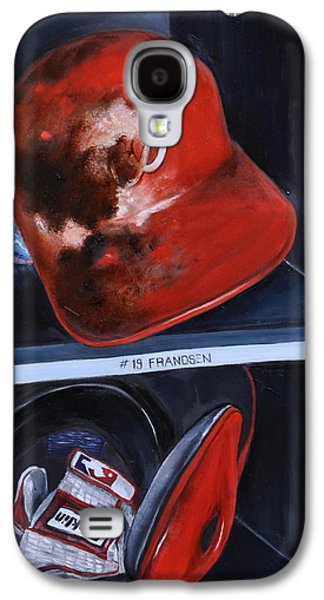 Baseball Glove Paintings Galaxy S4 Cases - Dugout Galaxy S4 Case by Lindsay Frost