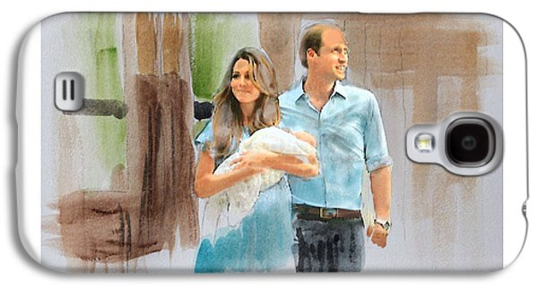 Duchess Of Cambridge Galaxy S4 Cases - Duke and Duchess of Cambridge with their new son Galaxy S4 Case by Roger Lighterness