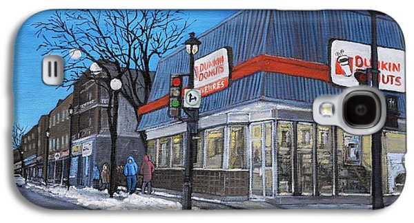 Quebec Streets Paintings Galaxy S4 Cases - Dunkin Donuts Wellington Street Verdun Galaxy S4 Case by Reb Frost