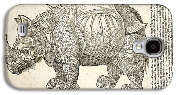 One Horned Rhino Galaxy S4 Cases - Durers Rhinoceros, 16th Century Galaxy S4 Case by Natural History Museum, London