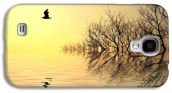Trees Reflecting In Water Galaxy S4 Cases - Dusk Flight Galaxy S4 Case by Sharon Lisa Clarke