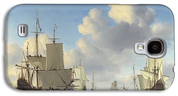 Rowboat Digital Art Galaxy S4 Cases - DUTCH WAR SHIPS on CALM SEAS  c. 1665 Galaxy S4 Case by Daniel Hagerman