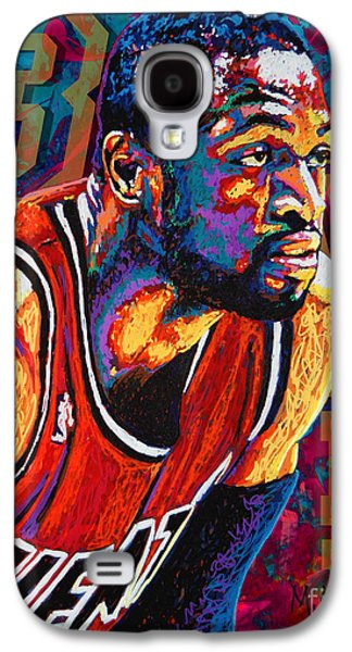 Nba Paintings Galaxy S4 Cases - Dwyane Wade 3 Galaxy S4 Case by Maria Arango